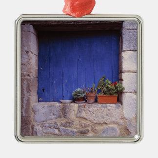 Europe, France, Cereste. A blue door adds color Christmas Ornament