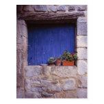 Europe, France, Cereste. A blue door adds color Postcard