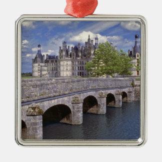 Europe, France, Chambord. A stone bridge leads Christmas Ornament