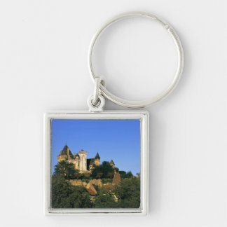 Europe, France, Montforte. The medieval castle Silver-Colored Square Keychain