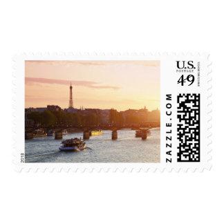 Europe, France, Paris (75), Tourist Boat on Postage Stamp