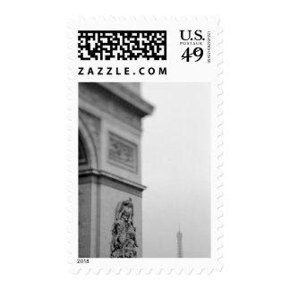 Europe, France, Paris. Arc de Triomphe and 2 Stamps