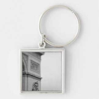 Europe, France, Paris. Arc de Triomphe and 2 Silver-Colored Square Keychain