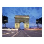 Europe, France, Paris. Arc de Triomphe as viewed Postcard