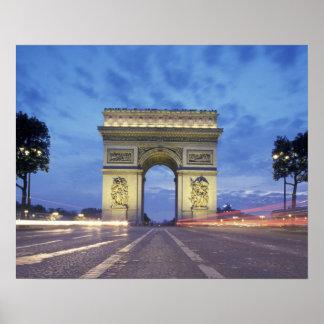 Europe, France, Paris. Arc de Triomphe as viewed Poster