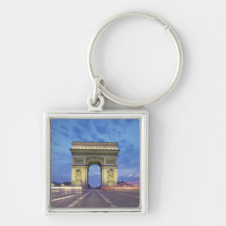 Europe, France, Paris. Arc de Triomphe as viewed Silver-Colored Square Keychain