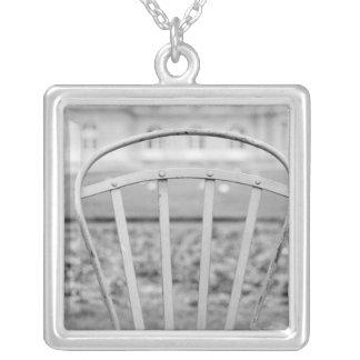 Europe, France, Paris. Chair, Jardin du Silver Plated Necklace