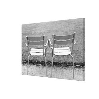 Europe, France, Paris. Chairs, Jardin du 2 Stretched Canvas Print