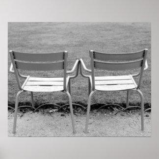 Europe, France, Paris. Chairs, Jardin du 2 Poster