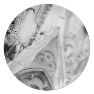 Europe, France, Paris. Detail: sculpture on Dinner Plate