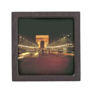 Europe, France, Paris. Evening traffic rushes Keepsake Box