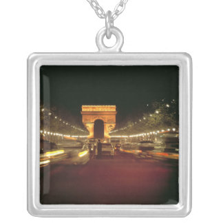 Europe, France, Paris. Evening traffic rushes Silver Plated Necklace