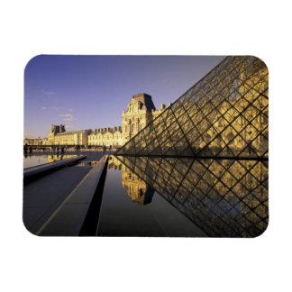 Europe, France, Paris. Le Louvre and glass Magnet
