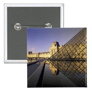 Europe, France, Paris. Le Louvre and glass Pinback Button