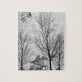 Europe, France, Paris. Statue and Ferris Wheel, Jigsaw Puzzle