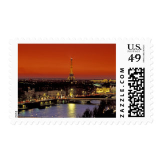 Europe, France, Paris. Sunset view of Eiffel Postage