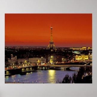 Europe, France, Paris. Sunset view of Eiffel Print