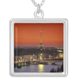 Europe, France, Paris. Sunset view of Eiffel Silver Plated Necklace