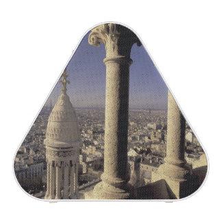 Europe, France, Paris, View of Paris through Bluetooth Speaker