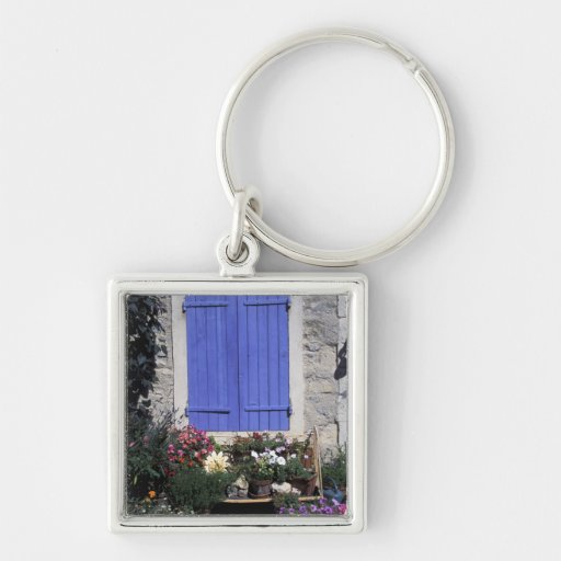 Europe, France, Provence, Aix-en-Provence. Silver-Colored Square Keychain