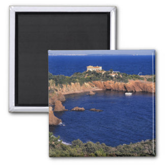 Europe, France, Theoule-sur-Mer. A tile-roofed 2 Inch Square Magnet