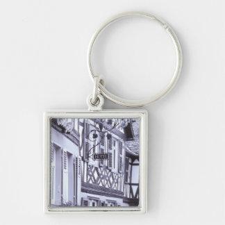 Europe, Germany, Rhineland, Pfalz, Boppard. Half Silver-Colored Square Keychain