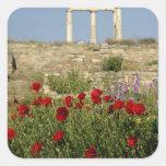 Europe, Greece, Cyclades, Delos. Column ruins. 2 Square Sticker