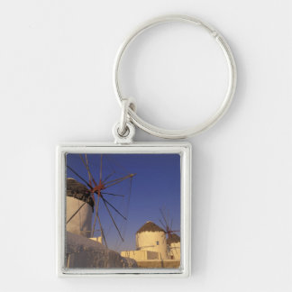 Europe, Greece, Cyclades Islands, Mykonos, 2 Silver-Colored Square Keychain