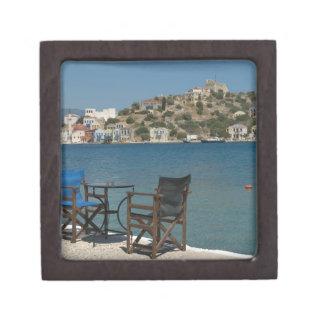 Europe, Greece, Kastellorizo: chairs on the edge Jewelry Box