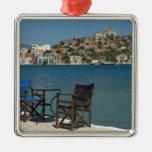 Europe, Greece, Kastellorizo: chairs on the edge Square Metal Christmas Ornament