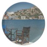 Europe, Greece, Kastellorizo: chairs on the edge Plate
