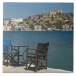 Europe, Greece, Kastellorizo: chairs on the edge Large Square Tile
