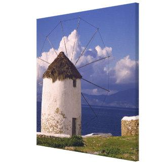 Europe, Greece, Mykonos. A striking white Canvas Print