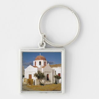 Europe, Greece, Mykonos. Fishing nets dry on the Silver-Colored Square Keychain