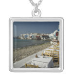 Europe, Greece, Mykonos. Views of the seaside Square Pendant Necklace