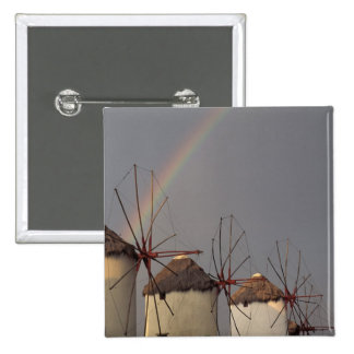 Europe, Greece, Mykonos. wind mill with rainbow Pinback Buttons