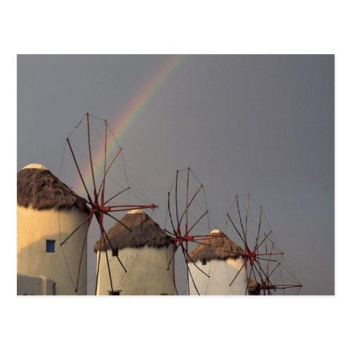 Europe Greece Mykonos wind mill with rainbow Postcard