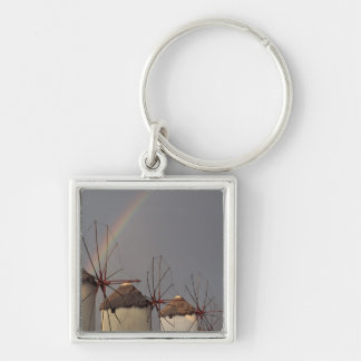 Europe, Greece, Mykonos. wind mill with rainbow Silver-Colored Square Keychain