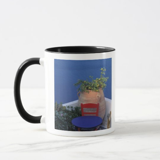 Europe, Greece, Santorini. Terrace with sea view Mug