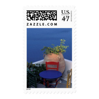 Europe, Greece, Santorini. Terrace with sea view Postage