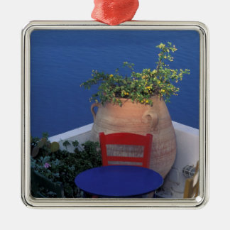 Europe, Greece, Santorini. Terrace with sea view Square Metal Christmas Ornament