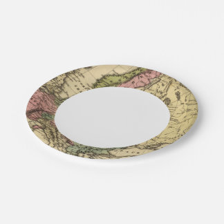 Europe Hand Colored Atlas Map 2 Paper Plate