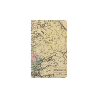 Europe Hand Colored Atlas Map 2 Pocket Moleskine Notebook