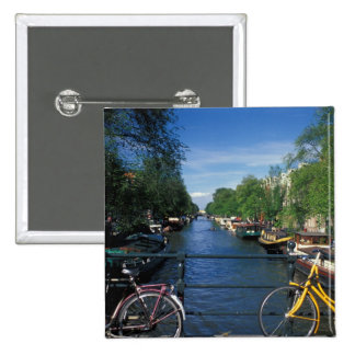 Europe, Holland, Amsterdam, yellow bicycle and Button