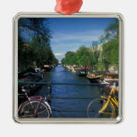 Europe, Holland, Amsterdam, yellow bicycle and Metal Ornament