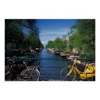 Europe, Holland, Amsterdam, yellow bicycle and Poster
