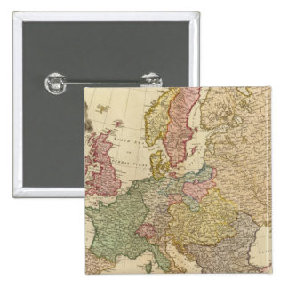 Europe Illustrated Map Pinback Button