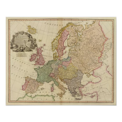 Europe Illustrated Map Poster