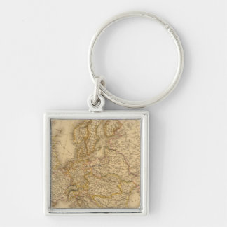 Europe in 1789 Silver-Colored square keychain