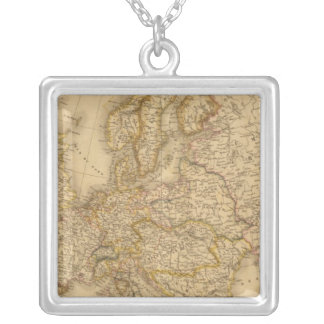 Europe in 1789 square pendant necklace
